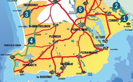 Carte des points de départ des randonnées nature de l'été 2014