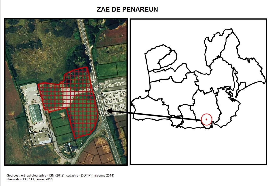 Plan de la zone d'activités de Penareun
