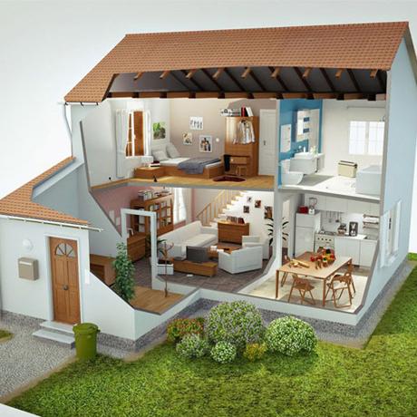 plan de coupe maison