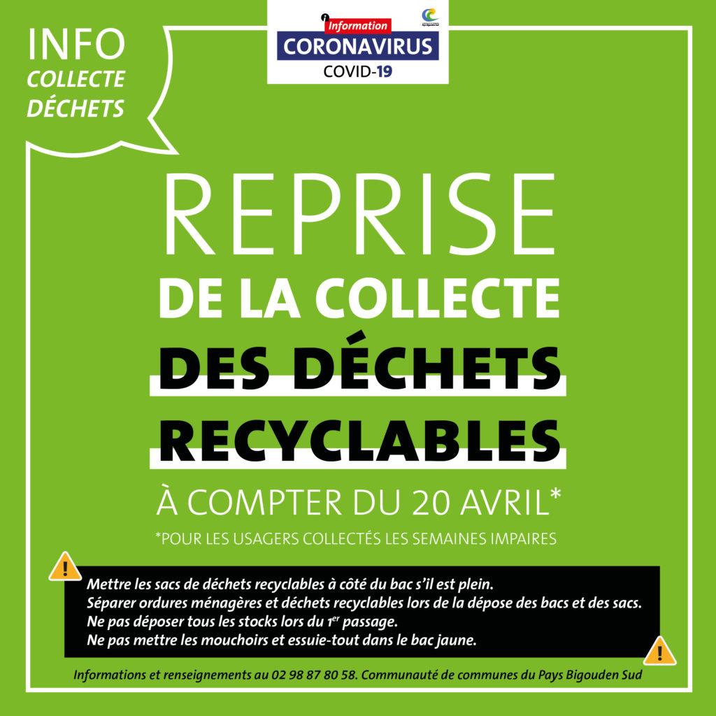 Reprise de la collecte des déchets recyclables