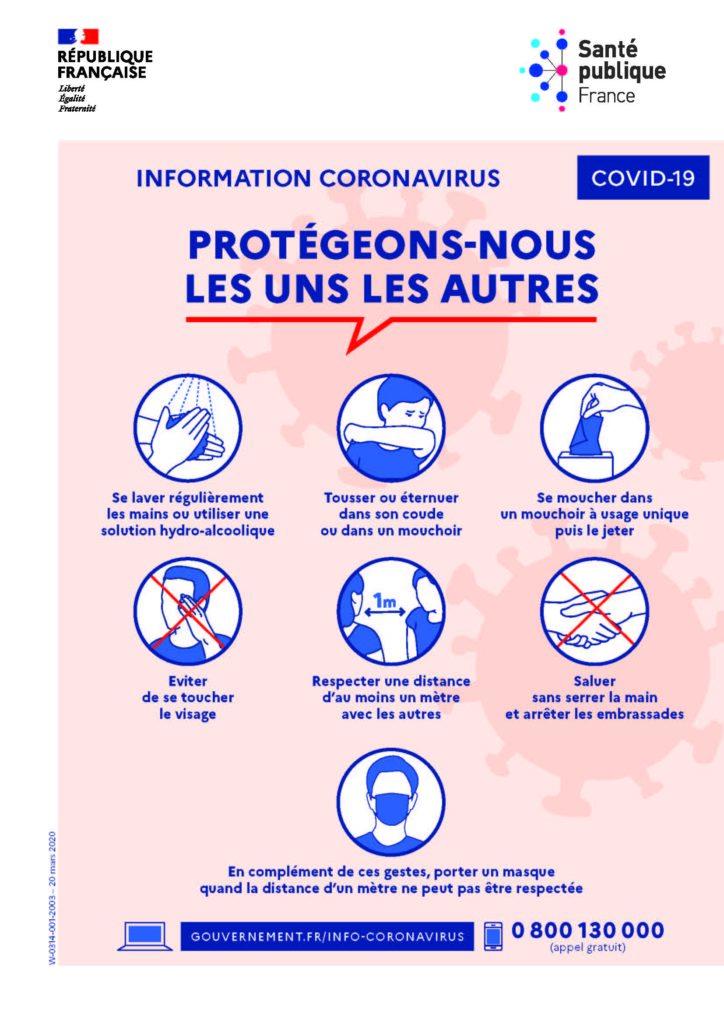 Affiche du Ministère de la santé pour expliquer les gestes barrières