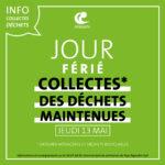 Collectes déchets jeudi 13 mai